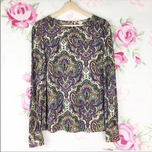 J. Crew Floral Paisley Printed Blouse 0